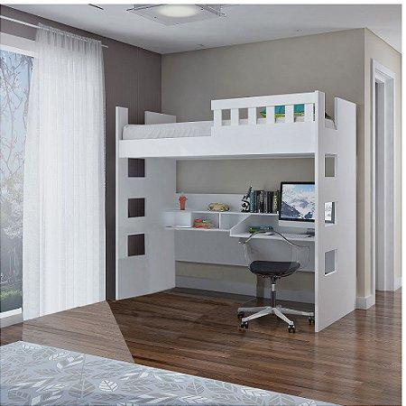 Cama Alta com Escrivaninha e Grade de Proteção 100% MDF Branco Foscarini