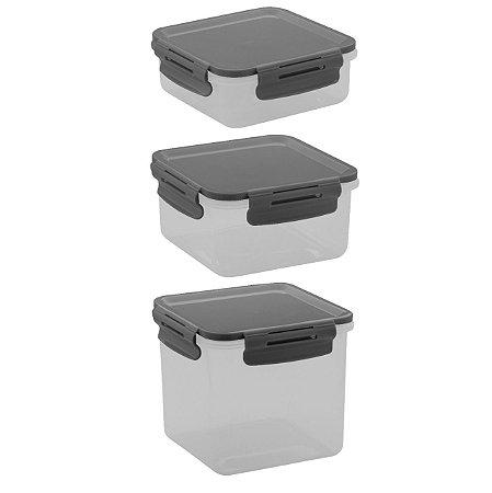Conjunto de Potes 3 peças Click Ou Chumbo