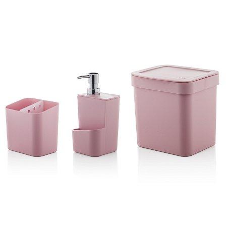 Kit Completo p/ Pia 3 peças Escorredor + Dispensador + Lixeira Trium Ou Rosa