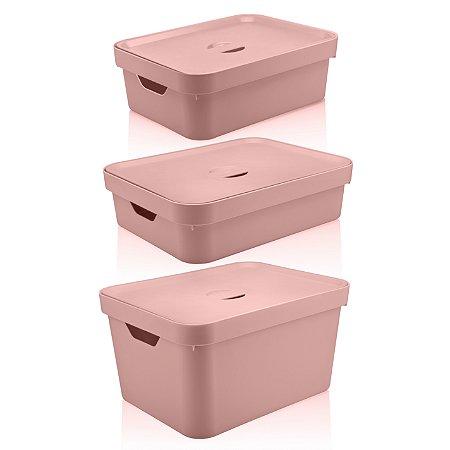 Conjunto Caixa Organizadora Cube 3 Peças Com Tampa Ou Rosa Quartz Fechado