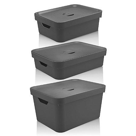 Conjunto Caixa Organizadora Cube 3 Peças Com Tampa Ou Chumbo