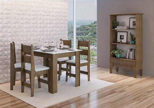 Conjunto Mesa + 4 cadeiras + Buffet Ameixa/Branco - Móveis Canção