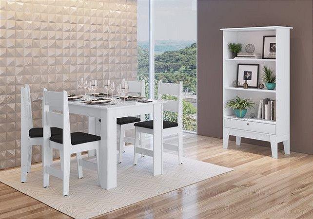 Conjunto Mesa + 4 cadeiras + Buffet Branco/Preto - Móveis Canção