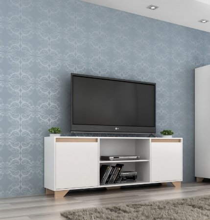 Rack para TV até 40 Polegadas 2 portas 2030 Branco/Siena - Quiditá