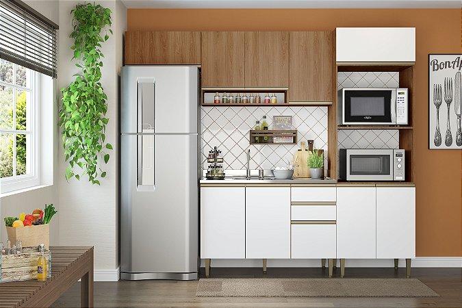 Cozinha Completa Modulada 4 Peças c/ Basculante Madeira/Branco - Be