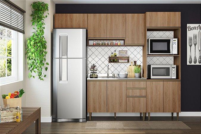 Cozinha Completa Modulada 4 Peças c/ Basculante Madeira - Be