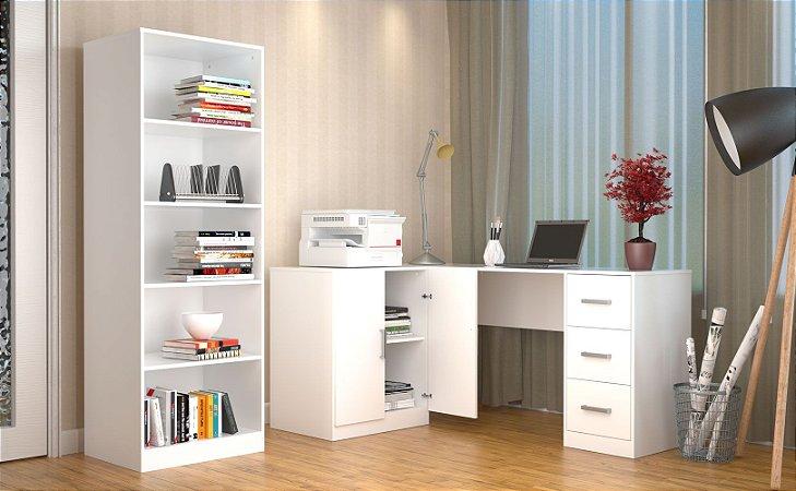Mesa Escritório Em L 3 Gavetas Appunto E Armário Branco