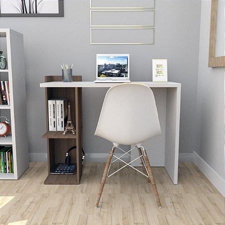 Mesa Para Escritório Sense Com 2 Nichos Appunto Nogueira E Branco