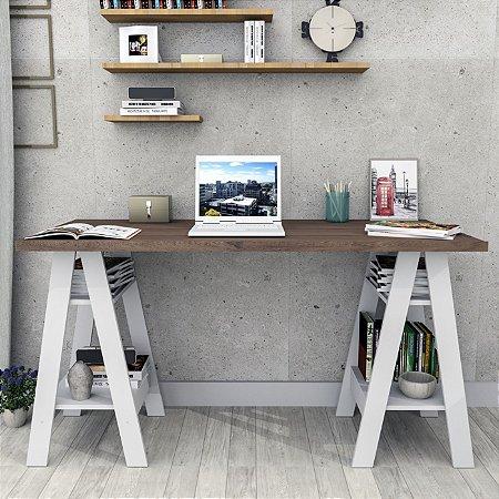 Mesa Escrivaninha Self Appunto Nogueira E Branco