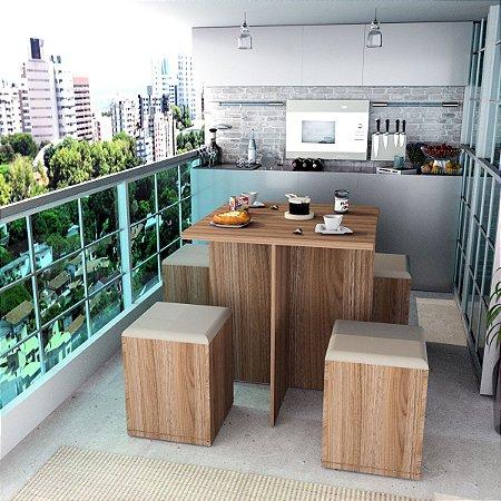 Conjunto Para Sala De Jantar Mesa E 4 Banquetas Appunto Castanho E Bege