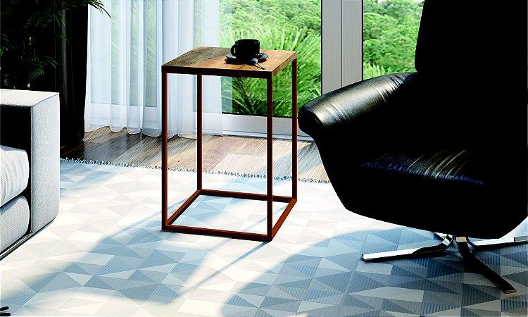 Mesa Auxiliar Quadrada Cube G Vermont/Cobre Industrial Artesano