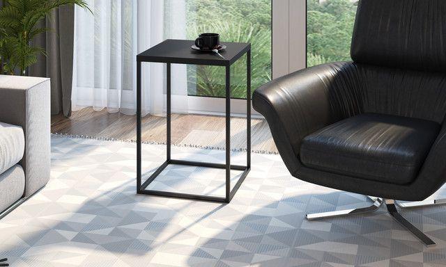 Mesa Auxiliar Quadrada Cube G Preto/Preto Industrial Artesano