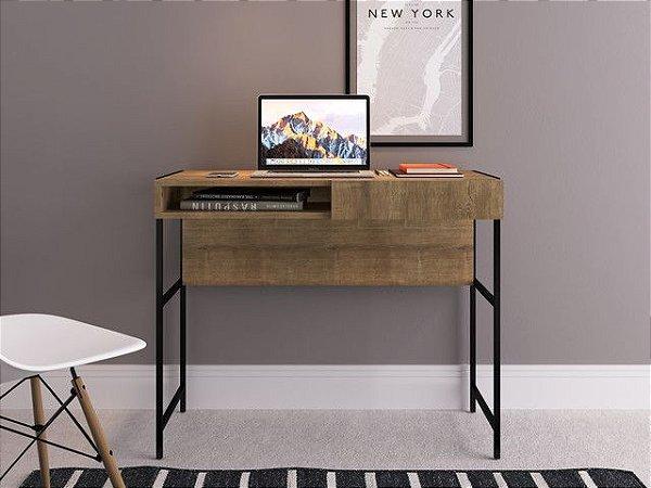 Escrivaninha 1 gaveta Vermont/Est  Preta Industrial Home Office  Artesano