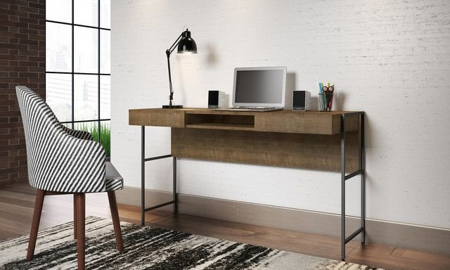 Escrivaninha 2 Gavetas Vermont/Est  Preta Home Office Industrial Artesano