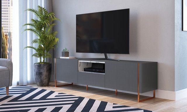 Rack 2 Portas 1 Gaveta Vesta Thassos/Manhatan/Cobre Para TV até 65 Polegadas Artesano