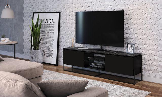 Rack 2 Portas Vesta Marquina/Preto/Preto para TV até 65 Polegadas Artesano
