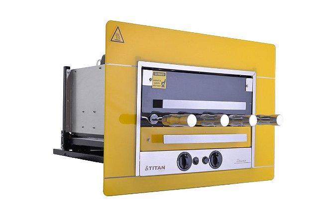Assador a Gás de Embutir 4 Espetos Titan Gás GLP 220V  Amarelo