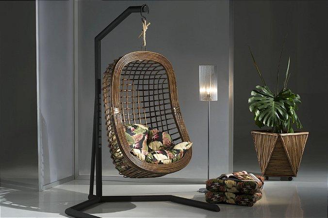 Cadeira Suspensa Balanço de Vime Artesanal Berinjela + Suporte Vimes Nadal