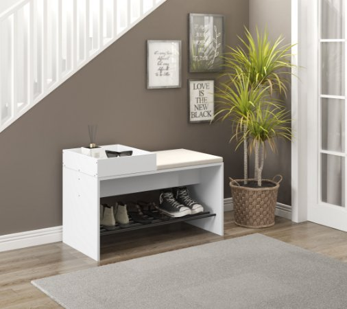Banco com futon e bandeja organizadora Flow Branco Be