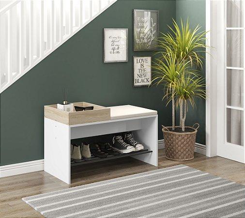 Banco com futon e bandeja organizadora Flow Branco Aveiro Be