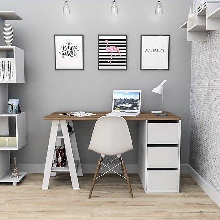 Mesa Escrivaninha Self com gavetas Appunto Castanho e Branco