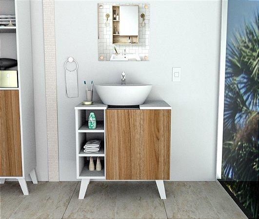 Gabinete para Banheiro Slin Appunto Branco e Castanho