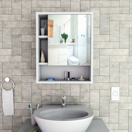 Armário para Banheiro com espelho Slin Appunto Branco e Castanho