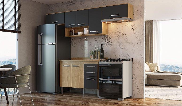 Cozinha Compacta Bélgica 5 peças A3093 Mel/Grafite Casa Mia