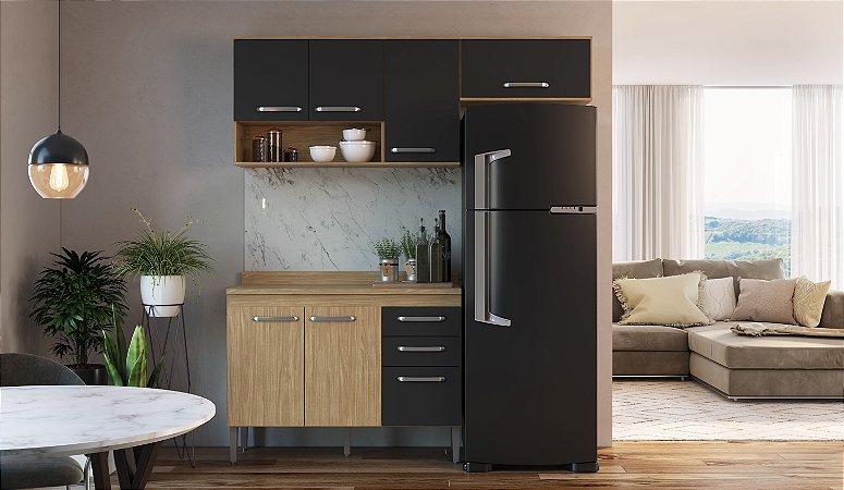 Cozinha Compacta Bélgica 4 peças A3092 Mel/Grafite Casa Mia