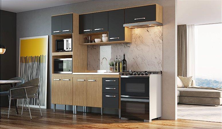 Cozinha Compacta Bélgica 4 peças A3099 Mel/Grafite Casa Mia