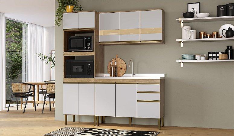 Cozinha Completa Casablanca 3 peças A3494 Mel/Off White Casa Mia