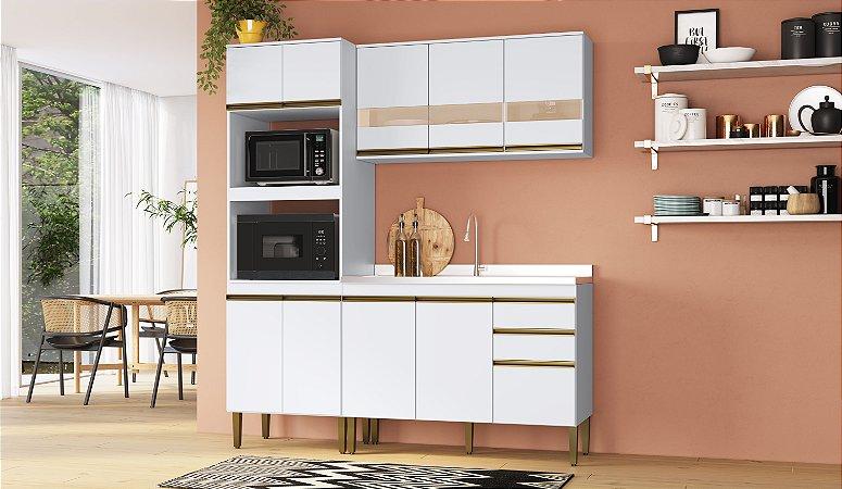 Cozinha Completa Casablanca 3 peças A3497 Branco Acetinado Casa Mia