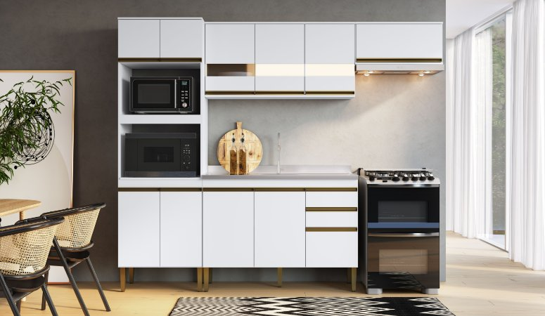 Cozinha Completa Casablanca 4 peças A3499 Branco Acetinado Casa Mia