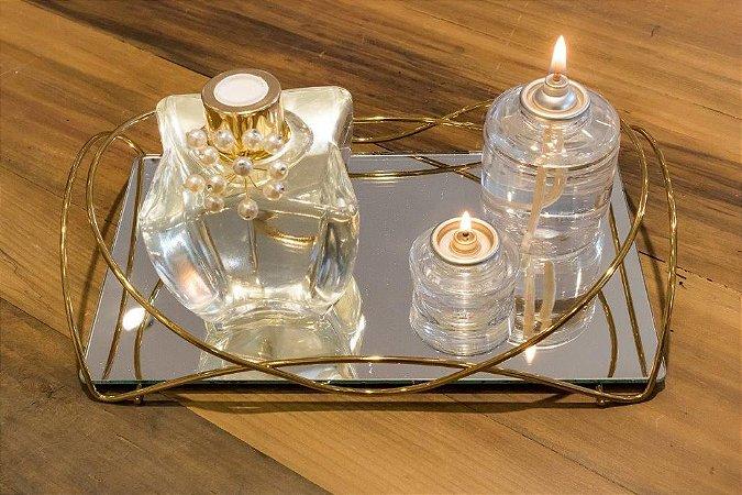 Bandeja Espelhada Isabela 15 X 25 cm Dourada Hara