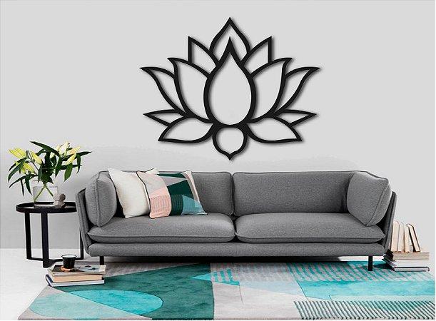 Quadro Decorativo Flor de Lotus Vazado Mdf 3mm 60 cm + Brinde