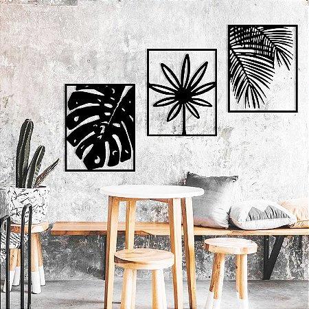 Trio De Quadros Decorativos Folhas Mdf Vazado Preto G +brinde