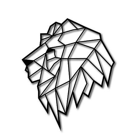Quadro Leão Geométrico Vazado