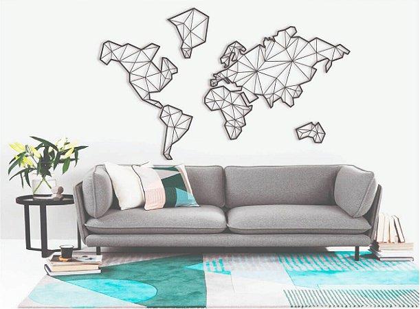 Quadro Decorativo Mapa Mundi Geométrico Madeira 1,20 metros Largura + Brinde
