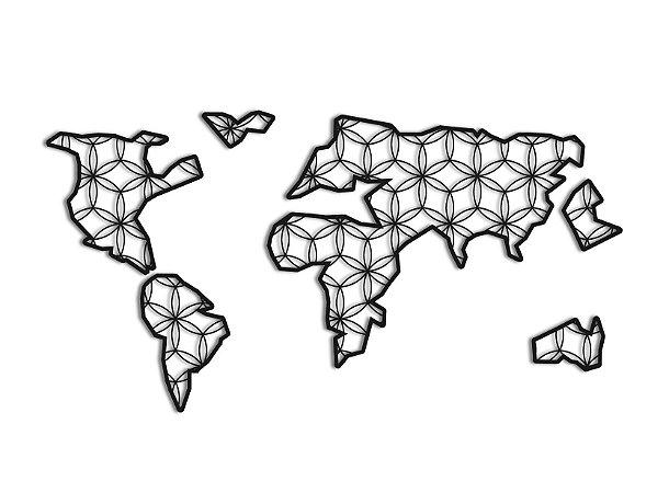 Quadro Mapa Mundi Geométrico - Modelo Florar Unico