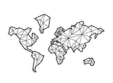 Quadro Mosaico Mapa Mundi Geométrico Madeira 2,20 metros (King)