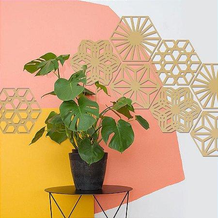 Kit 24 Placas Painel Elemento Vazado Hexagonal Colmeia Garden 28 cm  + Brinde