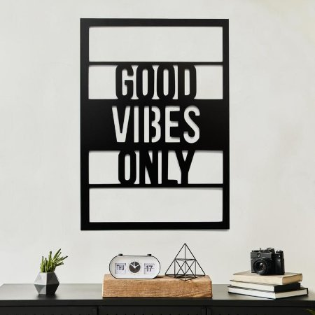 Quadro Decorativo Good Vibes Only Preto + Brinde