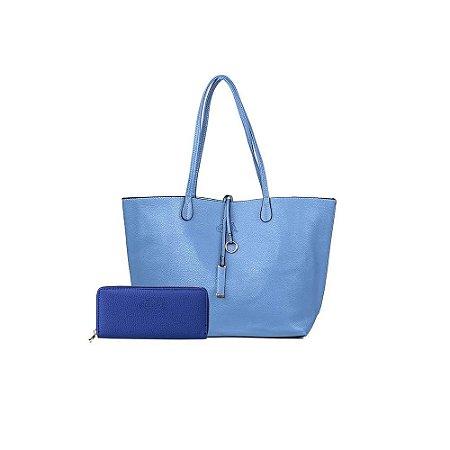 Bolsa Sacola Shopper Azul Bebê + Carteira Básica Azul