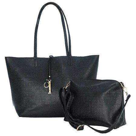Bolsa Sacola Feminina Shopper Preta com Dourado