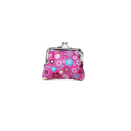 Porta Moedas Oumai Básica Rosa com Estampa Floral