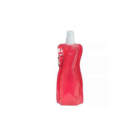 Garrafa Squeeze Plástica Dobrável Oumai Vermelha