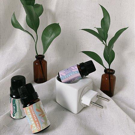 Kit aromaterapia essencial - difusor de porcelana