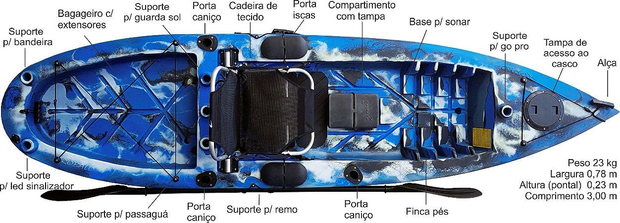 caiaque pesca robalo pro com cadeira alumínio