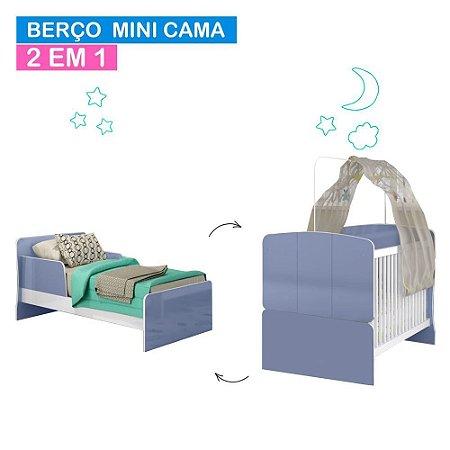 Berço Mini Cama 700 - Branco/Azul