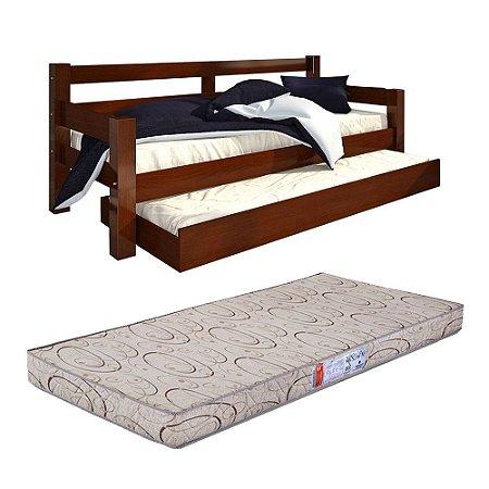 Bicama Solteiro Confort Castanho Com 2 Colchões Pro Life D20 - 88x188x12